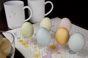 Easter Egg Coloring Guide Eggs on Pins with Coffee Cups Above