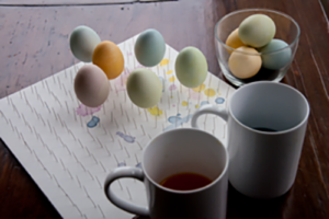 Easter Egg Coloring Guide Eggs on Pins with Coffee Cups