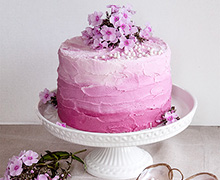 Use Creamed Frosting in three shades of INDIA TREE Nature's Colors Red to create an Ombre Frosted Cake.  Top it with fresh flowers and INDIA TREE Oyster Pearl French Dragées.  And voila!  A memorable highlight to a very special occasion!
