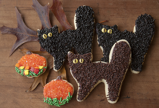 These adorable scaredy cat cookies are made with our Shortbread Cutout Cookies Recipe, flooded with Royal Icing, which has been tinted a dark color by adding drops from each color in the INDIA TREE Nature's Colors Decorating Set, and flocked with INDIA TREE products,  including INDIA TREE Chocolate Decoratifs, and INDIA TREE Black Magic Decoratifs.