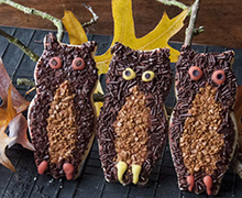 These owl cookies are a hoot and easy to create. Cut them out of our Shortbread Cookie Recipe, and flood with Royal Icing, which has been tinted a dark color by adding drops of each color from the INDIA TREE Nature's Colors Decorating Set. Flock with INDIA TREE Chocolate and Coffee Decoratifs and finish them off with icing eyes and feet.