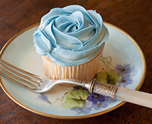 For that special occasion, a cupcake topped with a swirl of creamed frosting tinted with INDIA TREE Nature's Colors Blue.