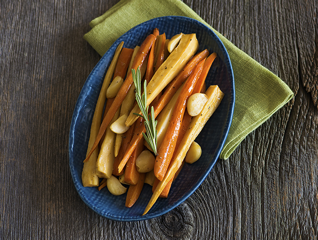 Oven braising carrots and parsnips in orange juice steeped with INDIA TREE Mulling Spices and aromatics gives them a sweet flavorful glaze. Serve this fall side dish with roast chicken, turkey, pork or beef.